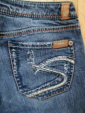 Women's SILVER Jeans Mirage Boot Cut Distressed Colorful Thick Stitching 26/33