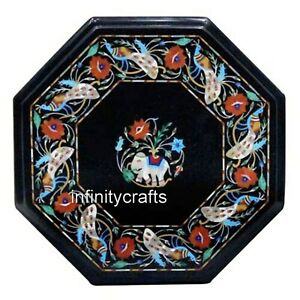 14 Inch Black Marble Coffee Table Top Peitra Dura Art Patio Table for Lawn Decor