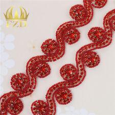 1 Yard Red Bridal Rhinestone Applique Crystal Beaded Iron on Wedding Sash Belt