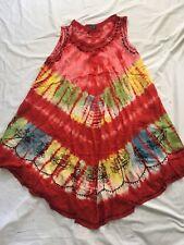 Artist Rainbow Lagenlook Boho Tye-dye Dress Top,free size