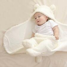 Baby Sleeping Bag Hooded Swaddle Blanket Winter Warm Plush Cotton Stroller Wrap
