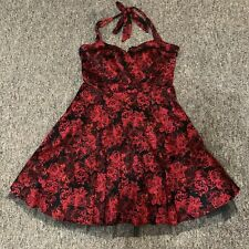 HOT TOPIC Retro Red Black Rose Dress Halter Flare Strap Lace Size XXL 2XL EUC