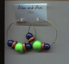 Green wood beads earrings Alex & Ani Navy