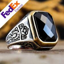 Turkish Handmade 925 Sterling Silver Black CZ Men's Ring Size 12 US Free Resize