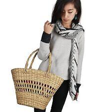 Straw Shoulder Bag Large Shopping Market Handbag Beach Picnic Womens Tote Basket
