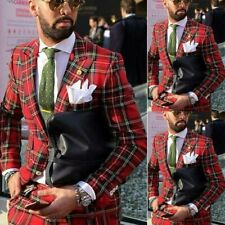 Red Plaid Men Suits For Wedding Groom Suits Slim Fit Groomsman Party Prom Tuxedo