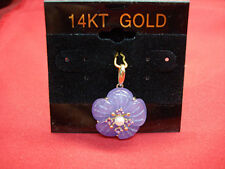 PRETTY CARVED LAV. JADE FLOWER PENDANT W/AMETHYSTs AND PEARL IN 14K SETTING -NEW