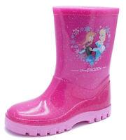 GIRLS KIDS PINK GLITTER DISNEY FROZEN WELLIES WELLINGTON RAIN SPLASH BOOTS 6-12