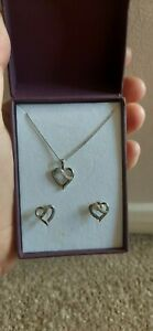 Ladies Silver Diamond Heart Necklace And Earring Gift Set