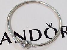 Authentic Pandora Dainty CZ Bow Bangle Charm Bracelet 590724 21cm Large