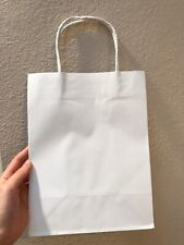 20Pcs White Kraft Paper Bags With Handles Handle Wedding Gift Lot Craft 10x8x5""