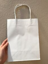 10Pcs White Kraft Paper Bags With Handles Handle Wedding Gift Lot Craft 10x8x5""