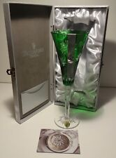 WATERFORD CRYSTAL SNOWFLAKE WISHES COURAGE FLUTE GREEN  ~ 2nd EDITION ~ IN BOX