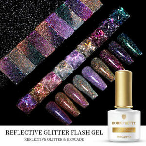 BORN PRETTY Reflective Glitter Flash Gel Nail Polish Soak Off UV LED Varnish 7ml