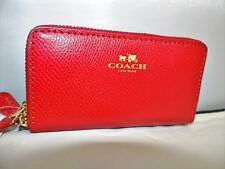 COACH Crossgrain Leather Small Double Zip Coin Card Case Wallet True Red $98