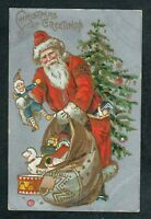 Long Red Robe~ SANTA CLAUS~ Bag of Toys 1910~Antique~ Christmas Postcard--s502