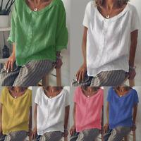 Summer Women Casual Short Sleeve Baggy Cotton Linen T-Shirt Top Blouse Plus Size