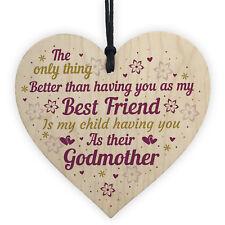 Best Friend Godmother Gifts Wooden Heart Plaque Thank You Friendship Keepsake