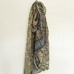 Vintage London Map Neck Scarf Womens Ladies Fashion Geography Polyester Print