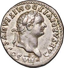 81-96 A.D Domitian, As Cæsar, Silver Denarius Coin - almost Extremely Fine