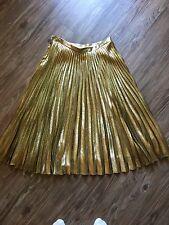 Ralph Lauren Collection Pleated Gold Metallic Skirt 6 Silk Midi