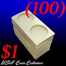 (100) Large Dollar Size 2x2 Mylar Cardboard Coin Flips for Storage   $1 Holder