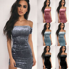 Sexy Women Off The Shoulder Dress Ladies Party Cocktail Bodycon Mini Dress YE