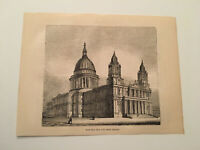 K78) Northwest View of St. Paul's Cathderal London England 1845 Engraving