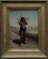 Orientalist C 1900 BOY CON COLOMBE arabo PAESAGGIO pittura ad olio arte