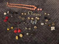 Vintage Costume Brooch/Pin Earrings Necklace Plastic Rhinestone Enamel Lot