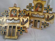 Wood Cross Wall Hanging Russian orthodox Greek Hollow series Jesus Roman icon