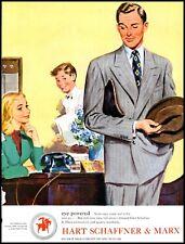 1947 Hart Schaffner & Marx Men's Wear Clothing Hat Vintage Art Print Ad  (ADL3)