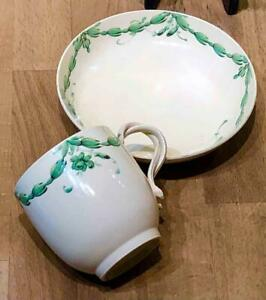 Antique Leeds Type Creamware Cup & Saucer, Green Floral Leaf Swag Design,c. 1800