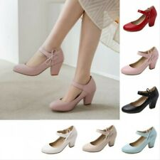 Ladies Mid Heel Office OL Mary Jane Round Toe Courts Ankle Strap Wedding Shoes