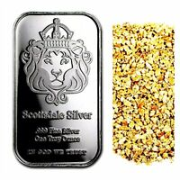 1 TROY OZ .999 SILVER SCOTTSDALE MINT BAR BU +50 PIECE ALASKAN PURE GOLD NUGGETS