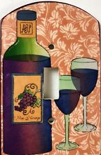 Red Wine Handmade Ceramic Switch Plate Cover by All Fired Up Purple Grapes