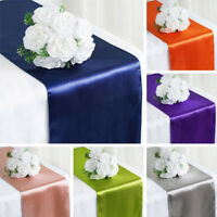 "12"" x 108"" Satin Table Top Runner Wedding Party Catering Reception Decorations"