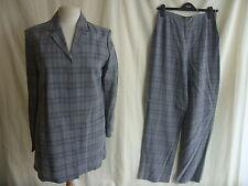 Ladies Trouser Suit - Jaeger, size M, grey check, longline, 60% wool - 1128