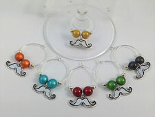 Set of 6 Moustache Design Wine Glass Charms - FREE PP