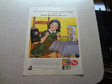 """1958 Post Raisin Bran Vintage Magazine Ad """"Any fruit 'n' cereal starts tongues.."""