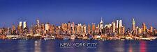 New York City NYC Manhattan Skyline DUSK Panoramic Photo Print Poster BIG 12x36