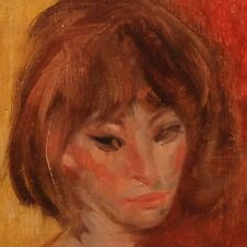 """original oil painting framed """"head of lisa"""" signed stuart kaufman 1926-2008"""