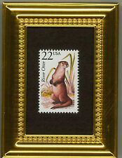 River Otter - A Collectible Glass Framed Postage Masterpiece!