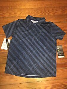 NWT Nike Girls Golf Polo Standard Fit Blue Short Sleeve Drifit UPF 40+ Medium
