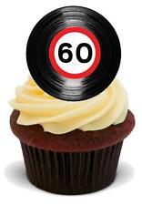Novedad Retro Disco De Vinilo 60º cumpleaños 12 Stand Up Imagen Comestible Cake Toppers