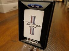 FORD MUSTANG LOGO SATIN CHROME ZIPPO LIGHTER MINT IN BOX