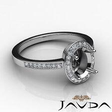 Diamond Engagement Oval Ring 18k White Gold Halo Pave Setting Semi Mount 1Ct