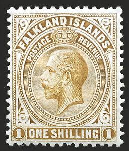 Falkland Islands Stamp 1912-20 1/- King George V Scott # 35 SG65 MINT OG H