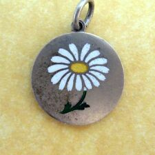 Antique Vintage Austrian Silver Enamel White Daisy Flower Charm
