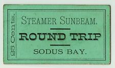 xRARE - Steamer Ship Sunbeam Ticket - Sodus Bay NY ca 1870s Boat Great Lakes